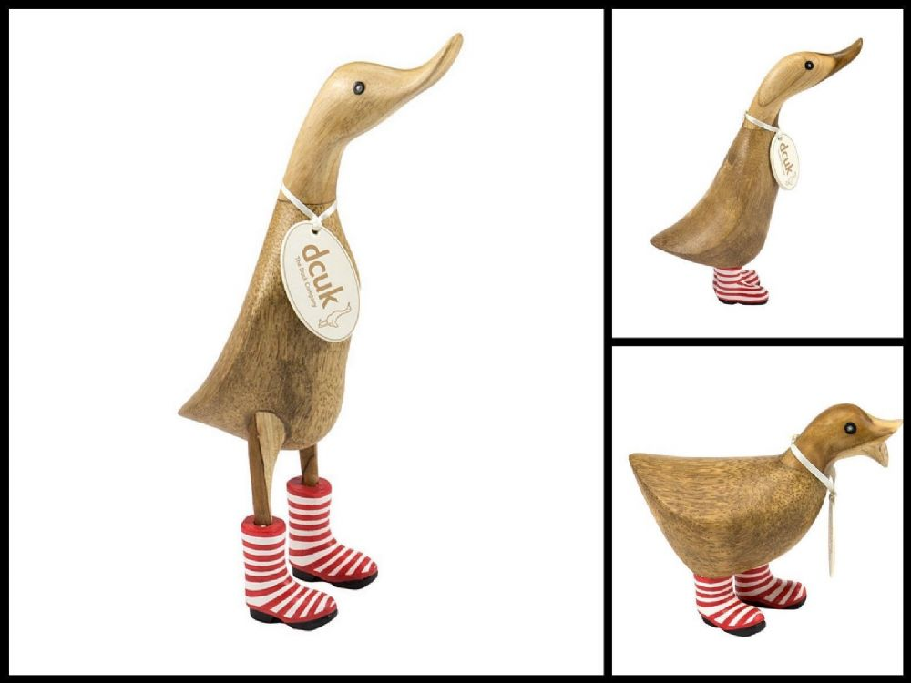 DCUK Wooden Duck Ornament Mantle Piece Decoration Red Stripey Wellies